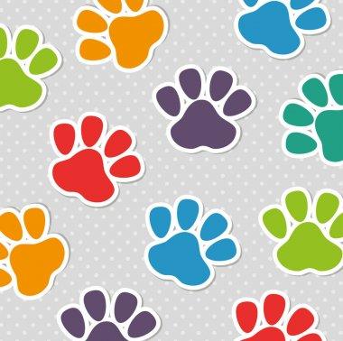 foot print pet colors seamless pattern