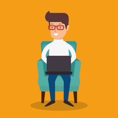 businessman avatar working icon