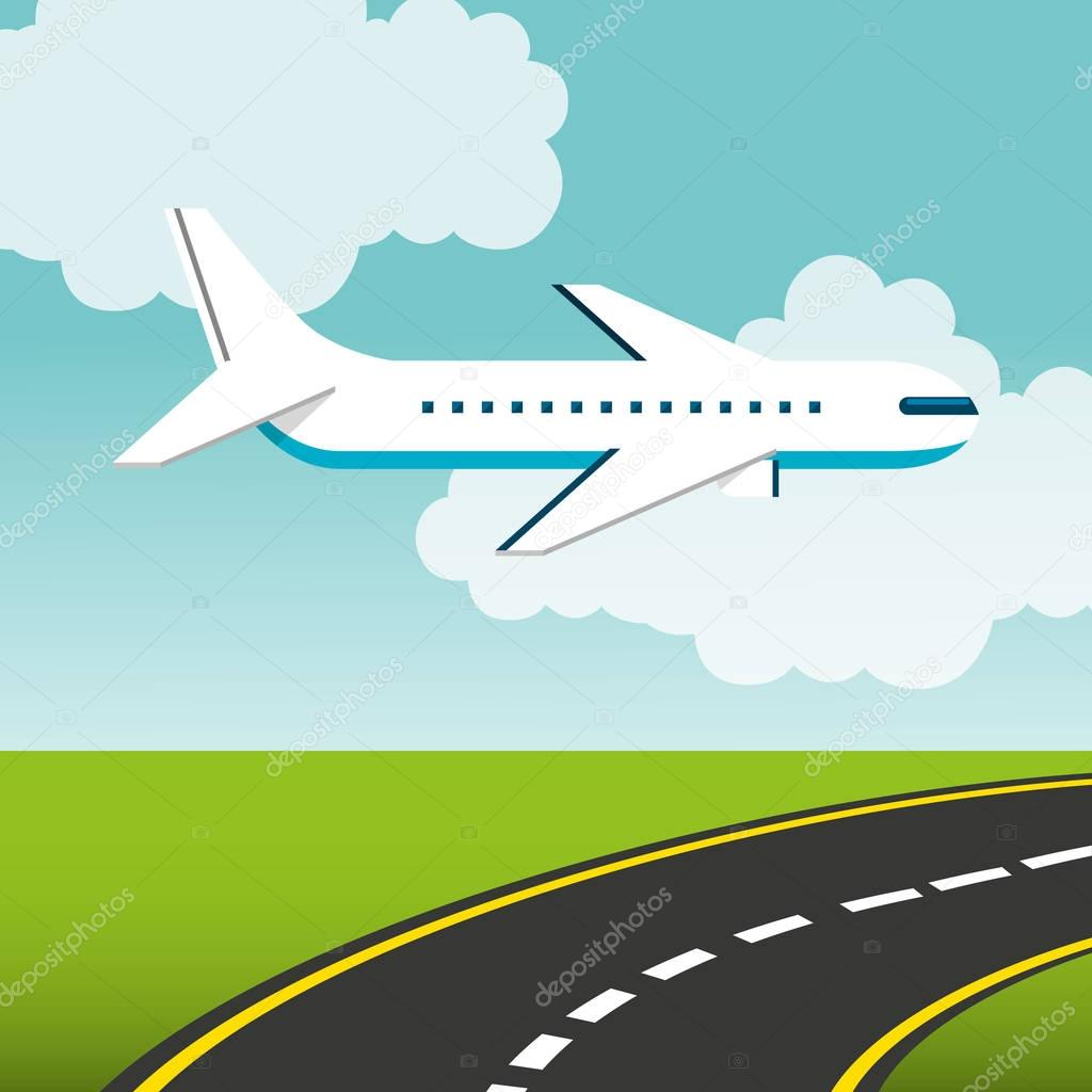 Airplane flying transport icon