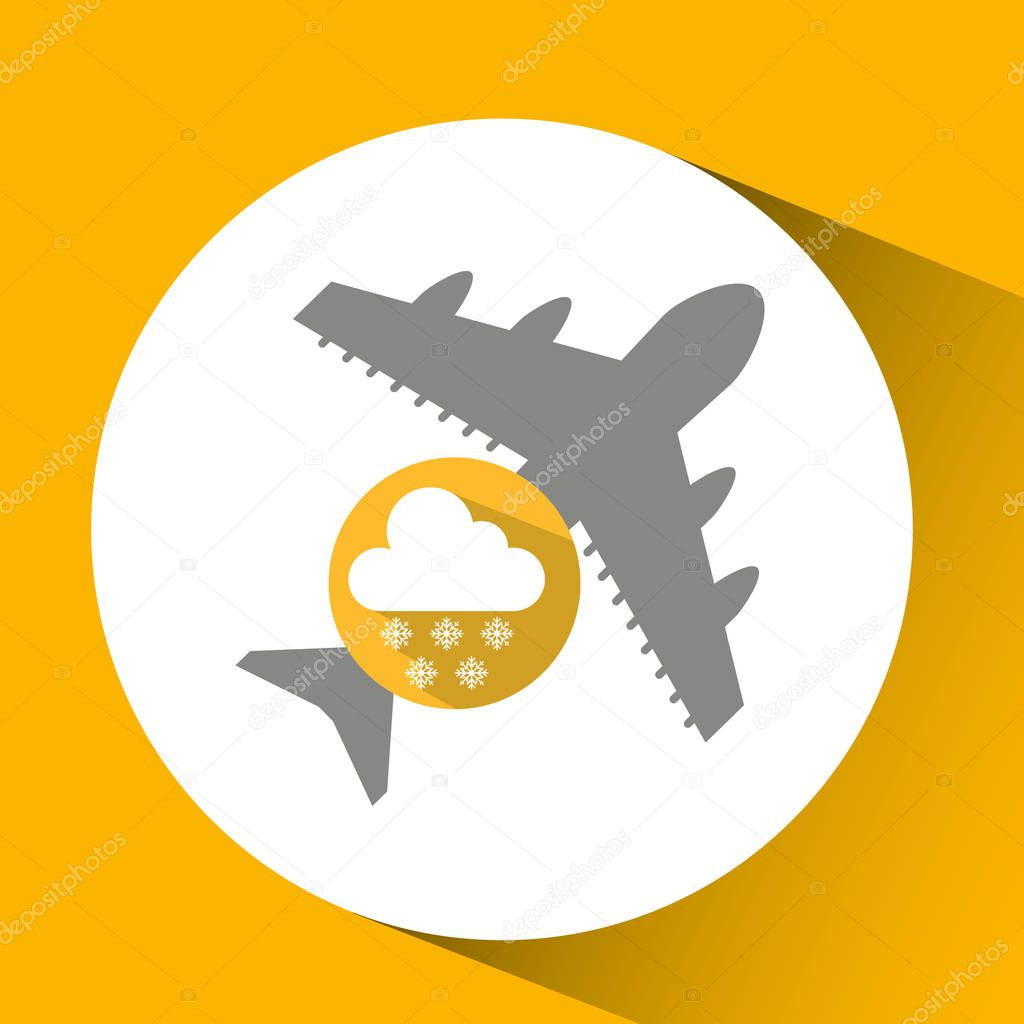 plane travel. weather forecast cloud snow icon