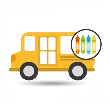 school bus icon crayons graphic