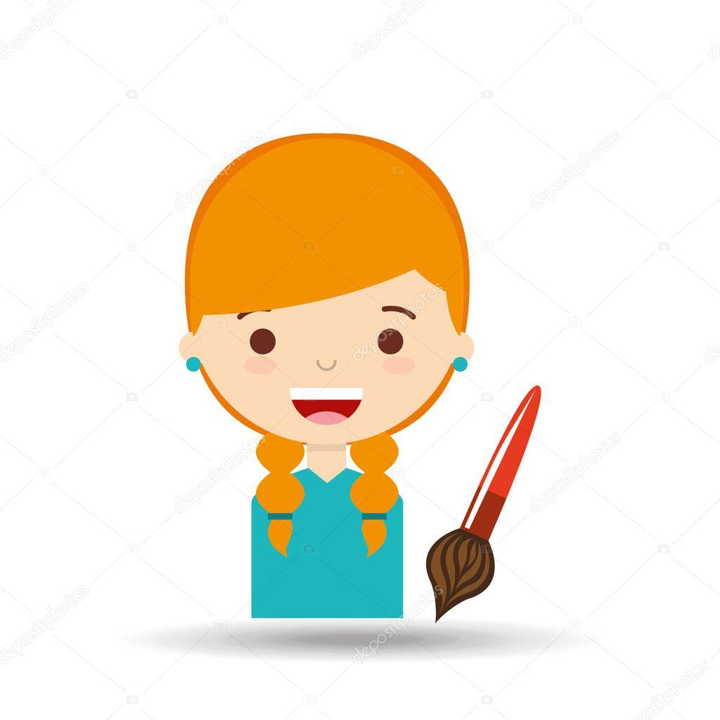 Güzel Kız Sarışın öğrenci Boya Fırçası Stok Vektör Yupiramos