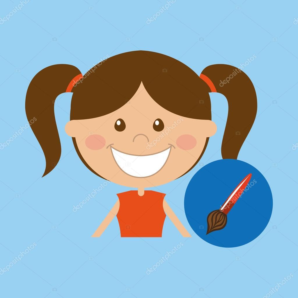 Mutlu Kız öğrenci Okula Boya Fırça Simgesini Stok Vektör