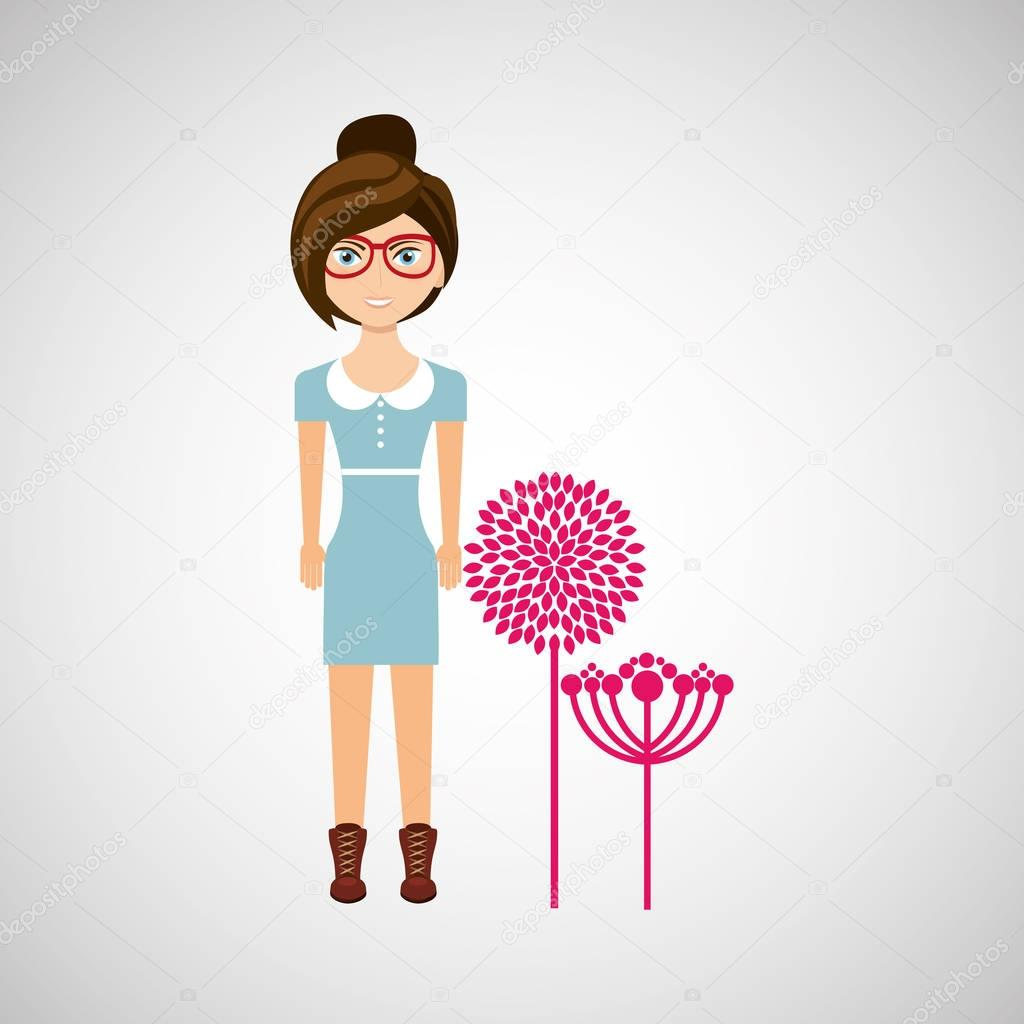 girl character natural floral icon
