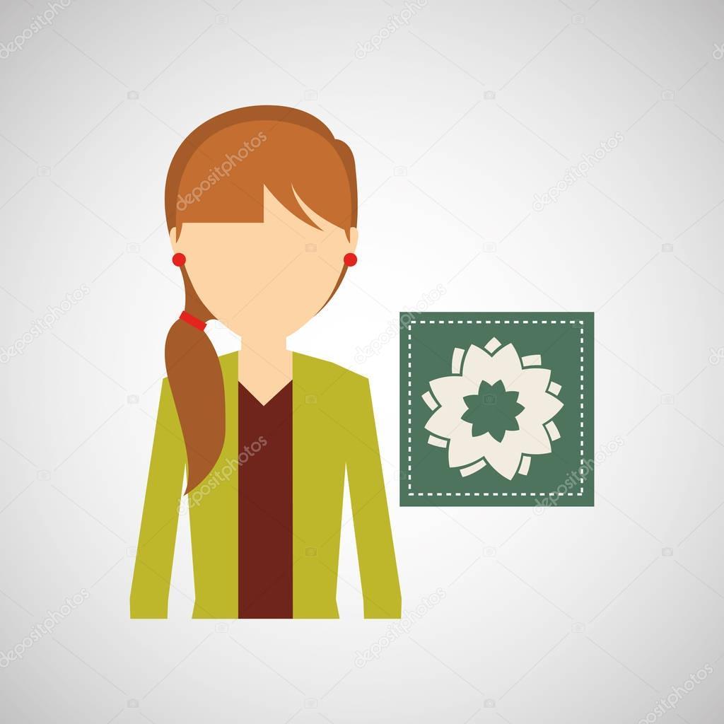 girl decorative icon peony flower