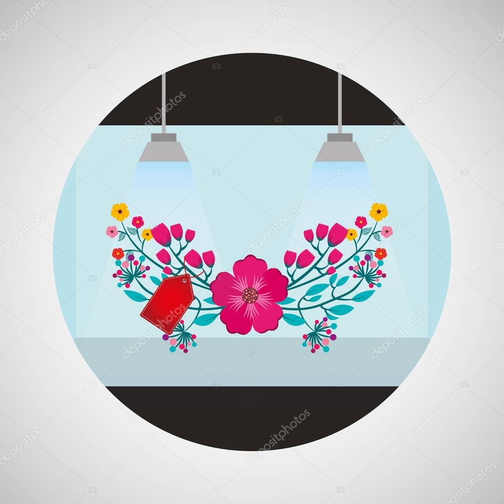 flower shop ornamental arrangement icon design