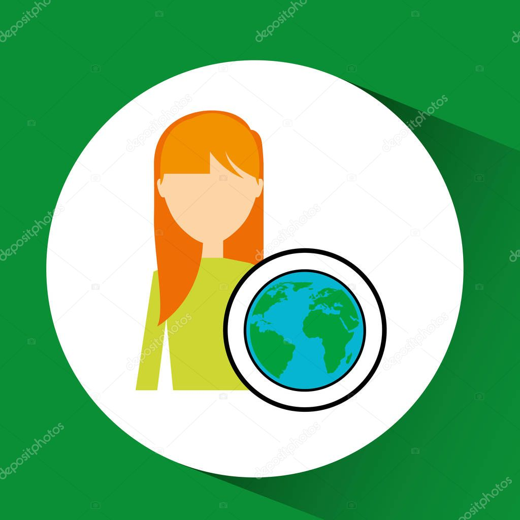 girl concept ecological globe