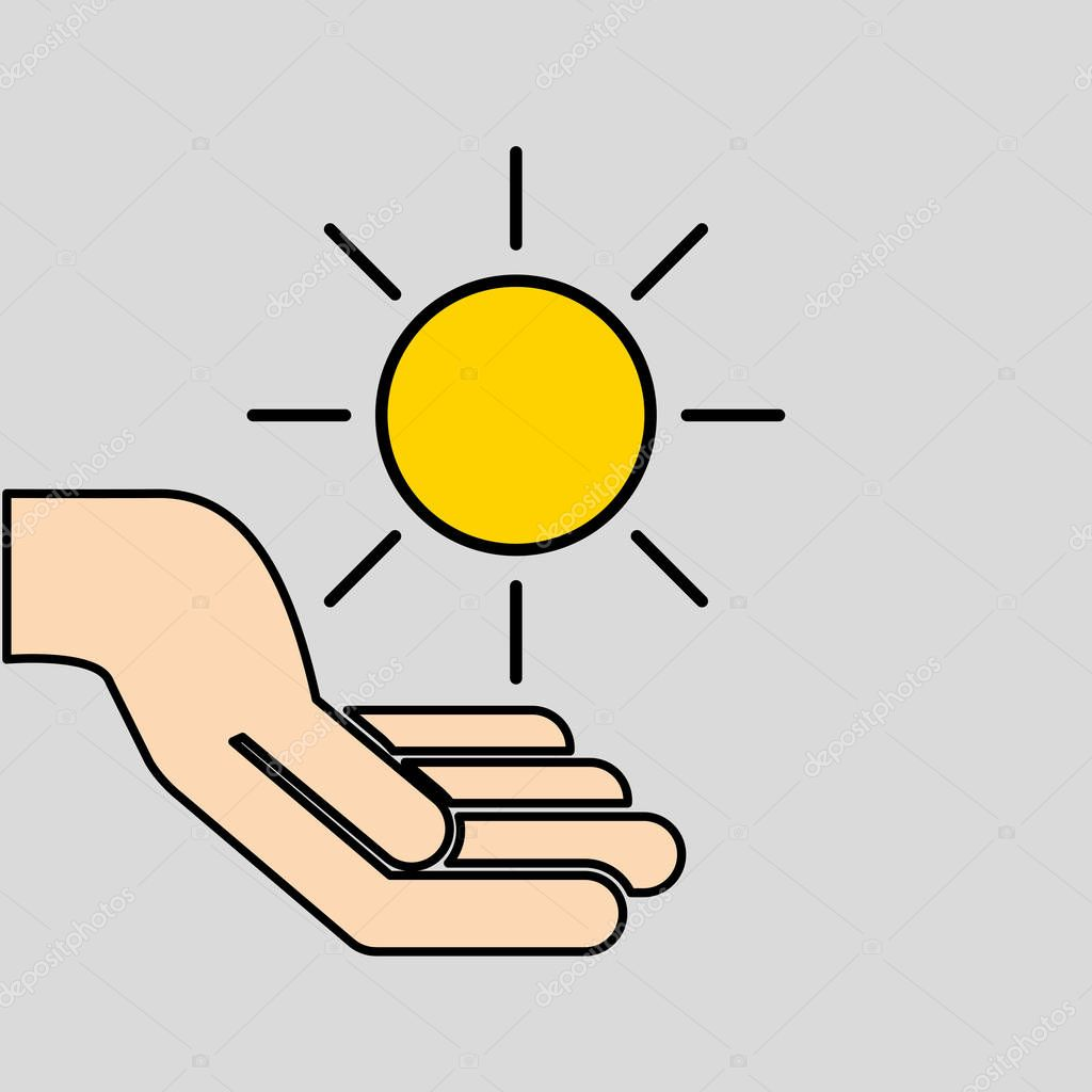 hands care sun warming gobal design