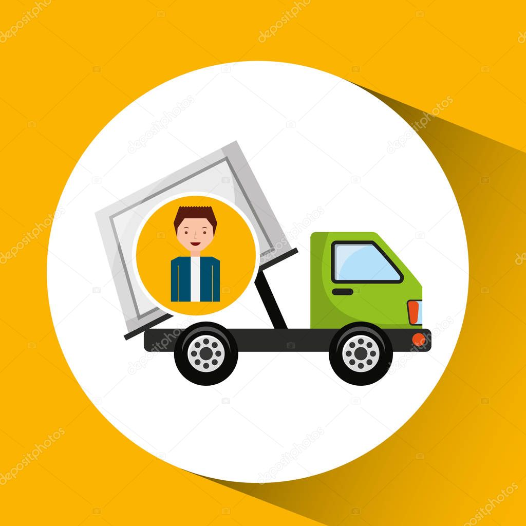 cute boy recycle ecology icon garbage truck