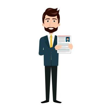 Businessman with curriculum vitae