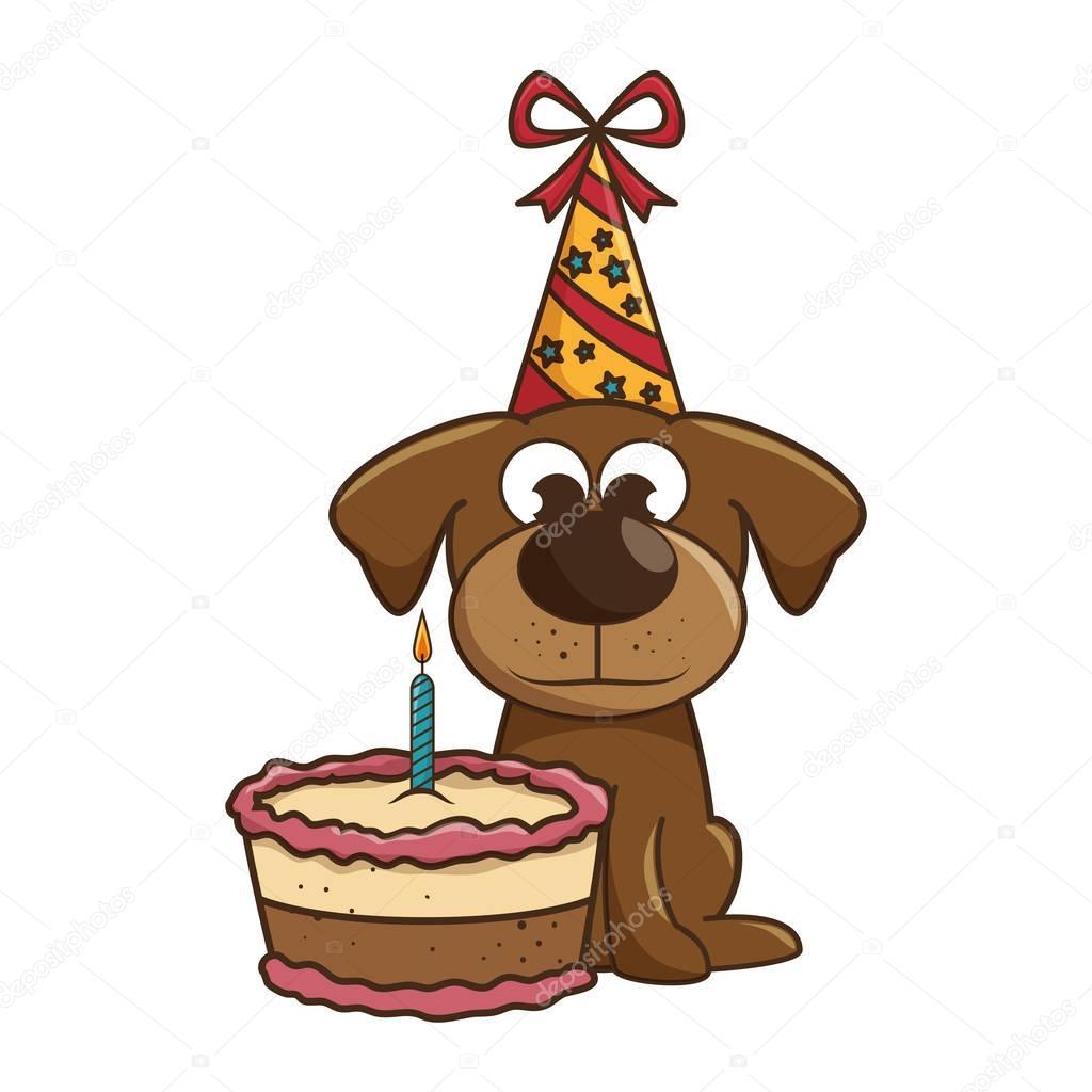Mascotte Van De Hond Met Taart Verjaardag Stockvector C Yupiramos