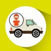 rajzfilm ember szállítás teherautó ikon kép