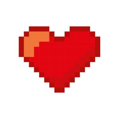 Heart love pixelated icon vector illustration design stock vector