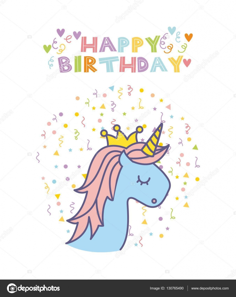 Unicorn Birthday Card Stock Vector C Yupiramos 130765490