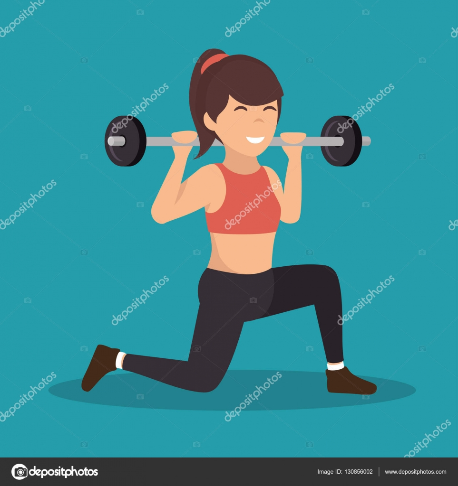 Chica de dibujos animados sosteniendo gimnasio peso - Imagenes de gimnasio ...