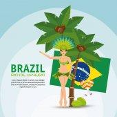 brazil rio de janeiro poster garota flag coconut palm