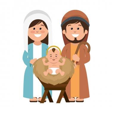 Holy family manger characters vector illustration design stock vector
