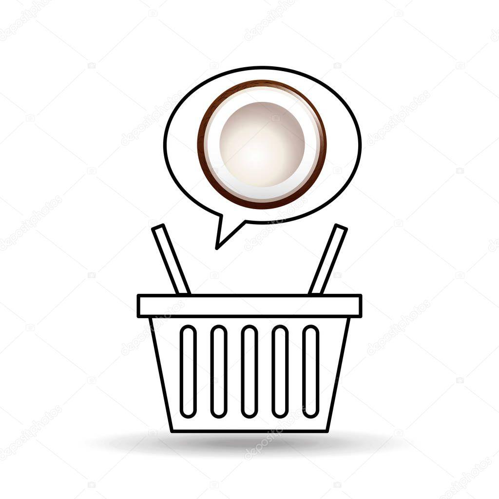 basket market sweet coconut icon design