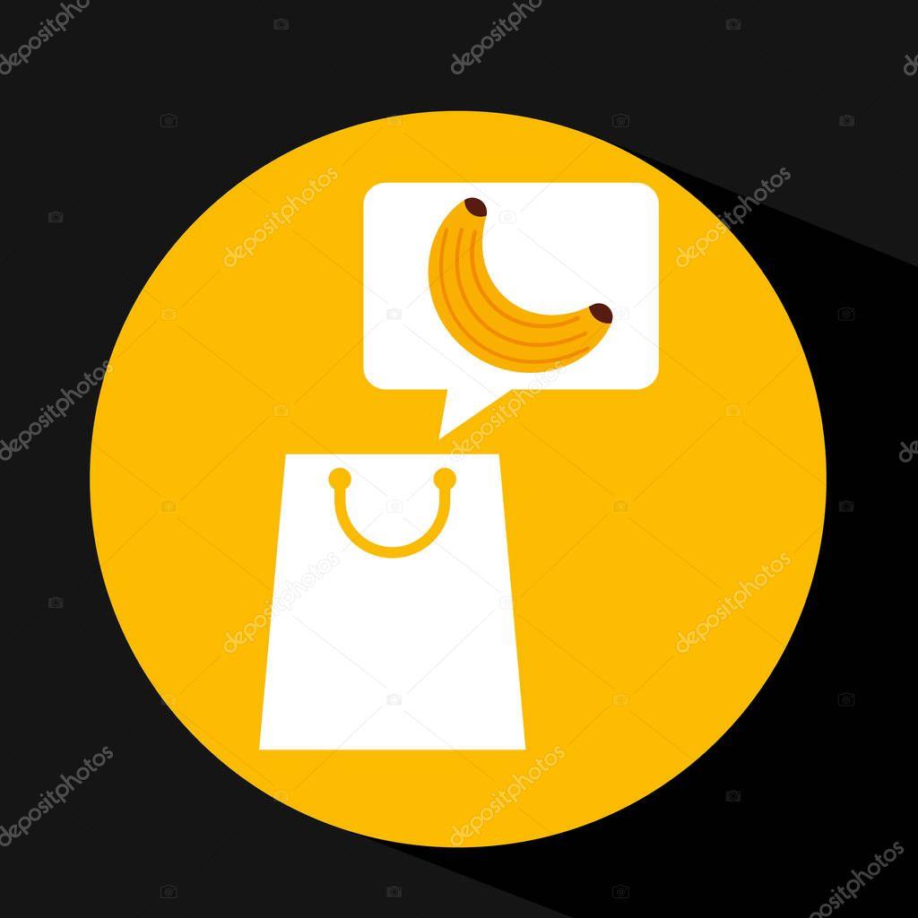 grocery shopping bag banana fruit design