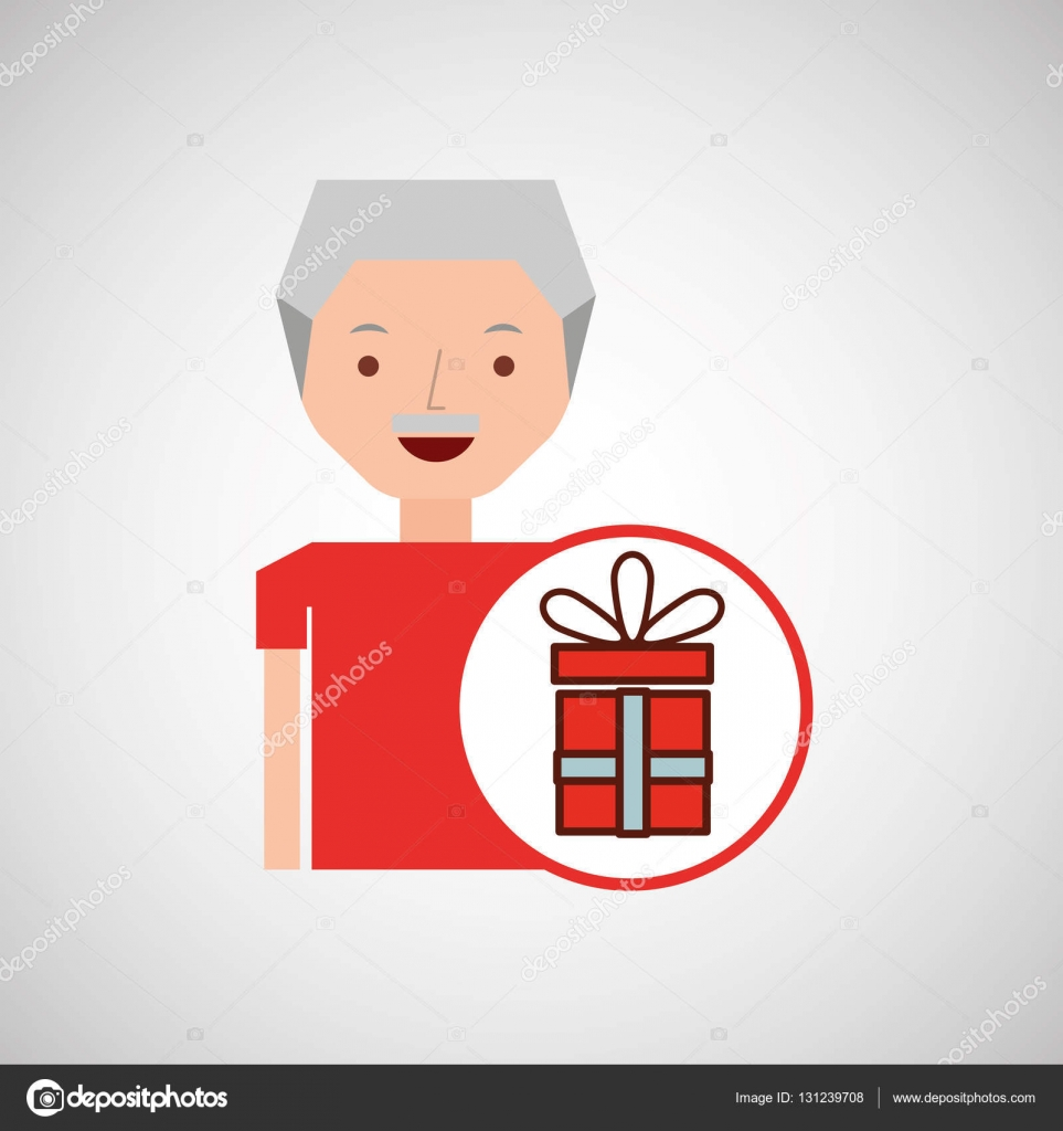 Man Ouderen Met Afbeelding Van Cadeau Stockvector
