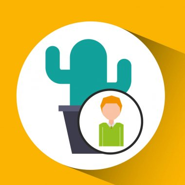 cartoon business man cactus office icon