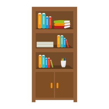 books on shelf isolated icon