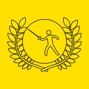 fencing sportsman flag background design
