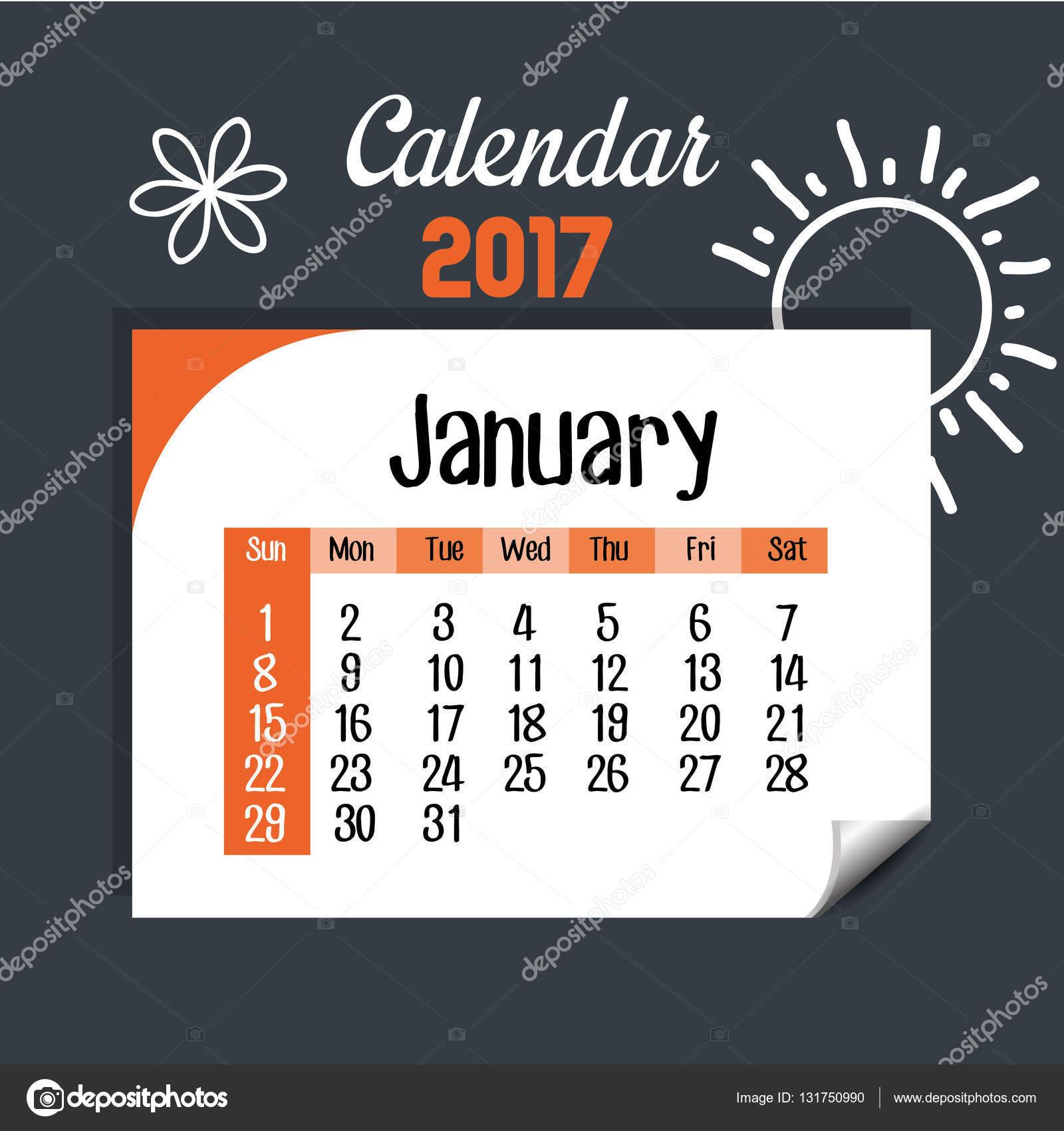 calendar january 2017 template icon stock vector yupiramos