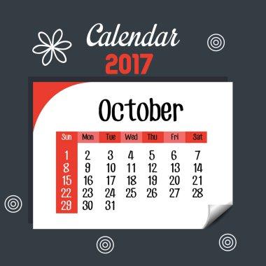 calendar october 2017 template icon