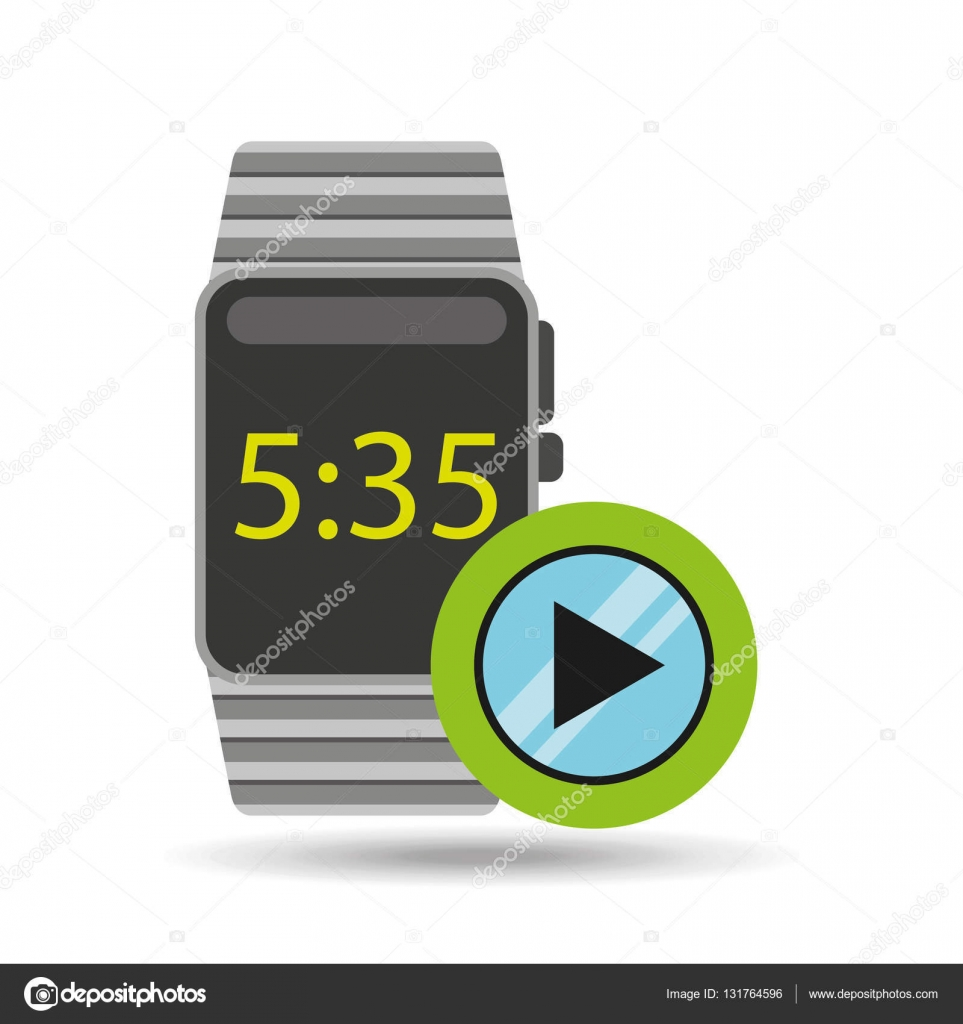 Smart watch technology with video player — Stock Vector