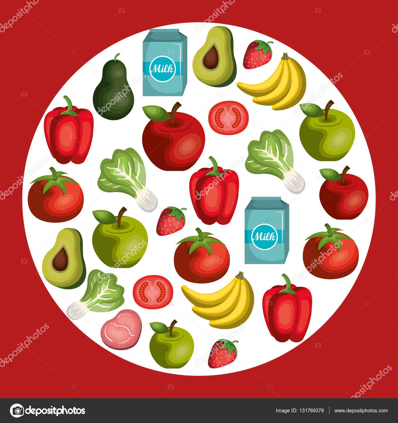 Nutrition healthy food icon — Stock Vector © yupiramos