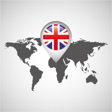 world map with pointer flag england