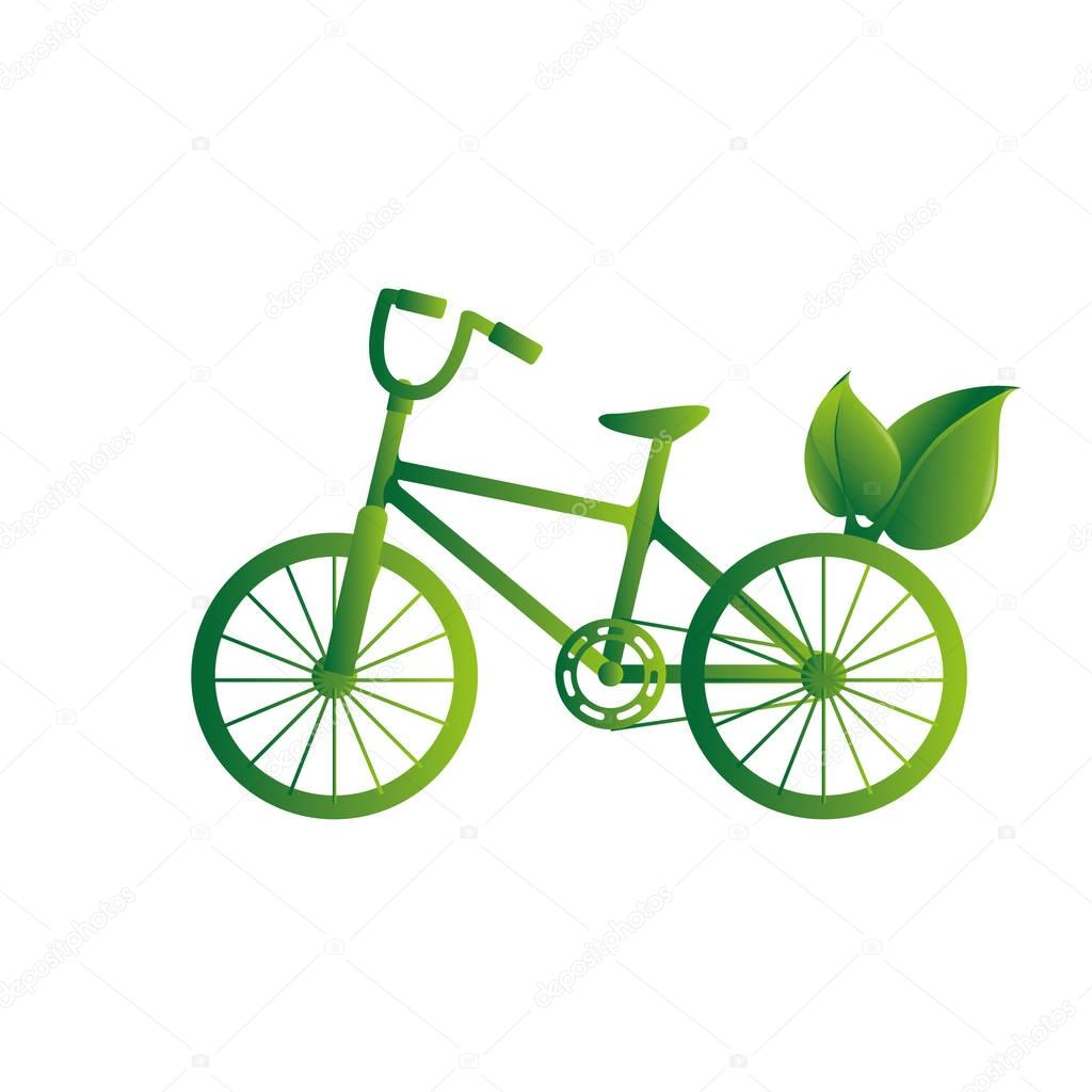 green bicycle isolated icon