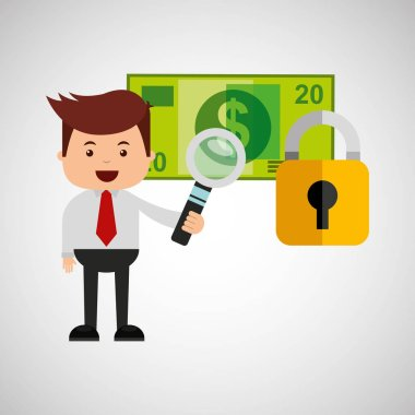 business man secure banknote search money