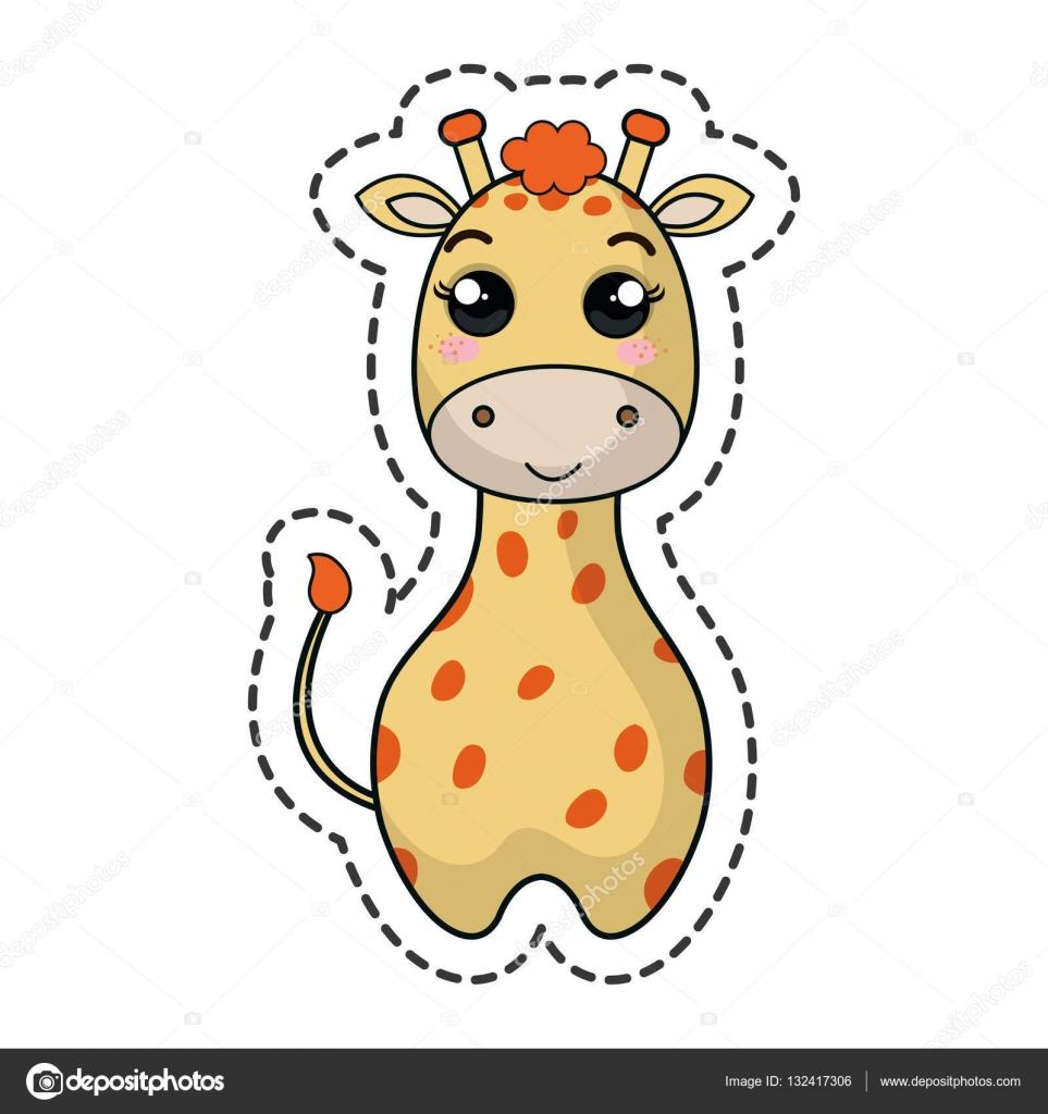 Personnage Kawaii Mignon Girafe Image Vectorielle Yupiramos