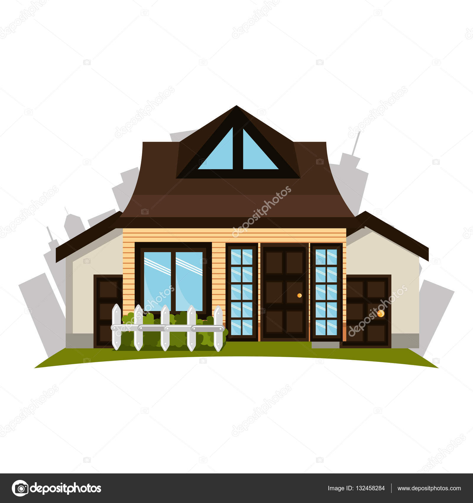 schönes Haus außen Symbol — Stockvektor © yupiramos #132458284