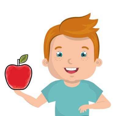 little kid with apple