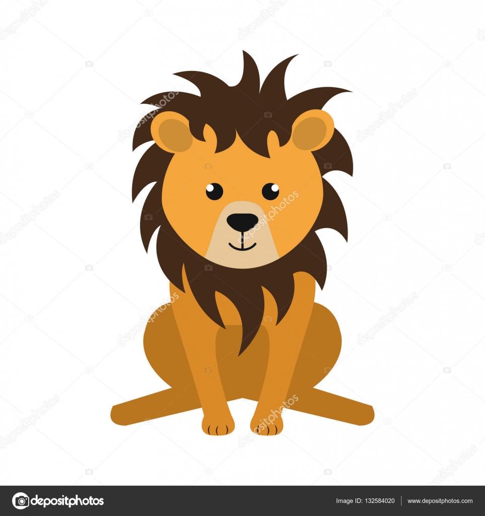 かわいいライオン動物キャラクター — ストックベクター © yupiramos