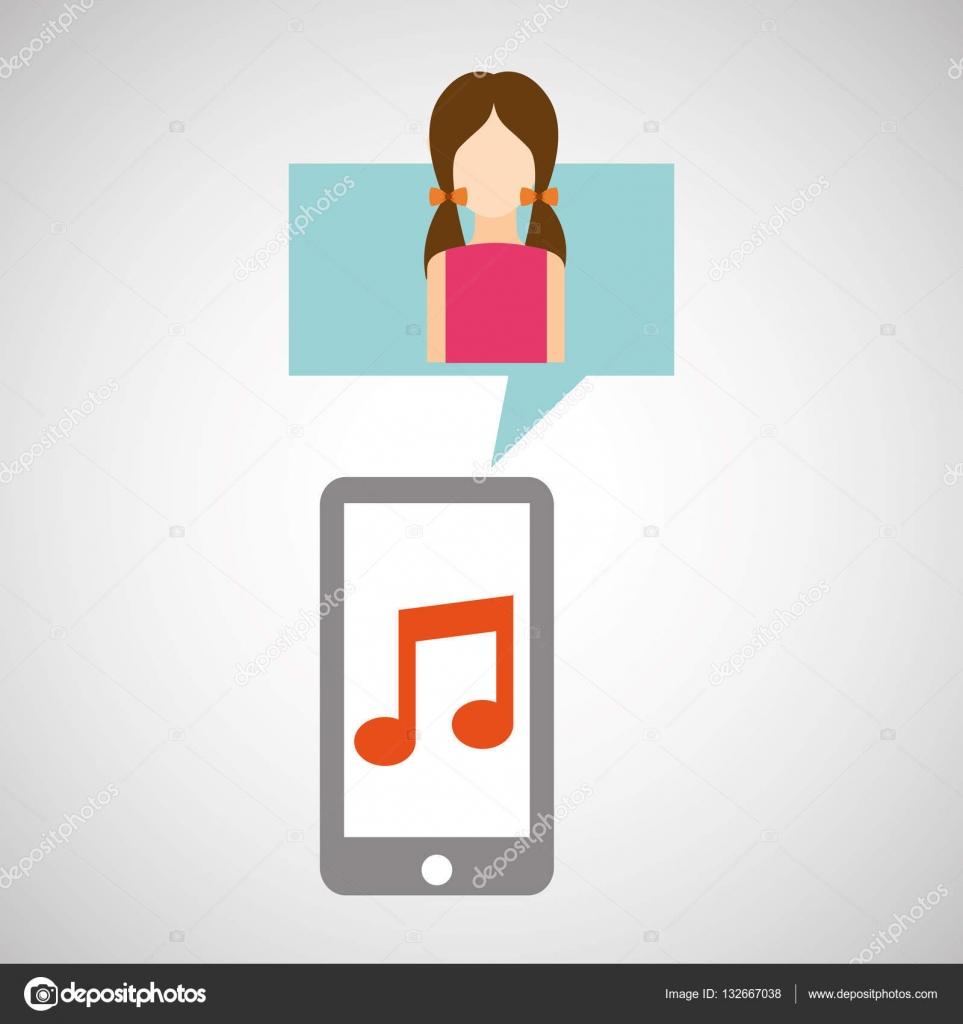 Aplicativo De Música Do Personagem Vestido Rosa Smartphone