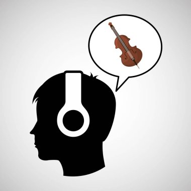 head silhouette listening music fiddle