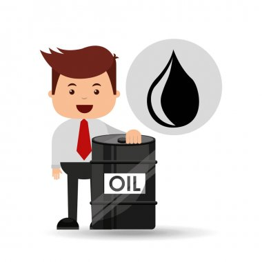 businessman oil industry barrel icon