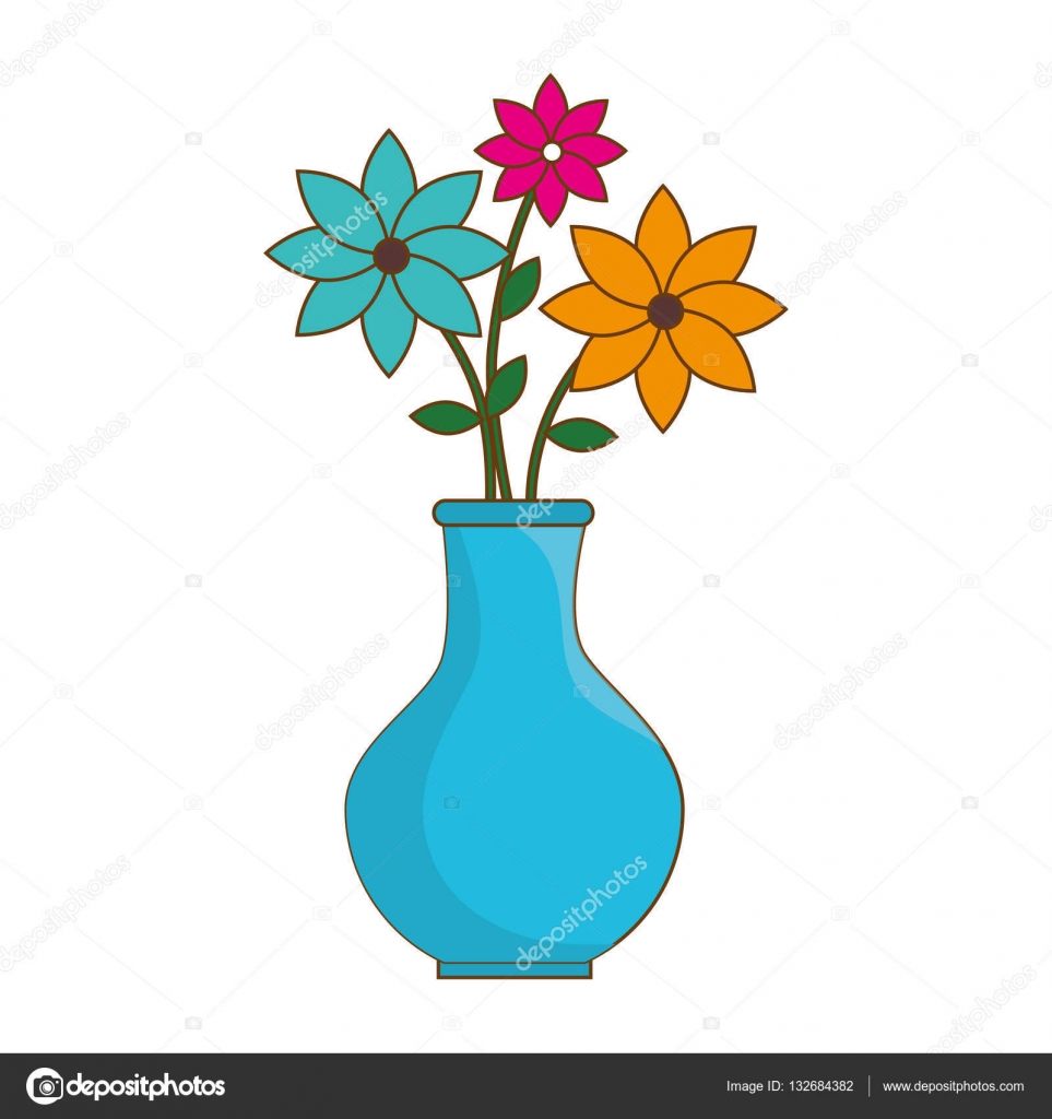 Flower vase isolated icon stock vector yupiramos - Fotos jarrones con flores ...