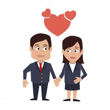 Couple love with heart vector illustration design clip art vector