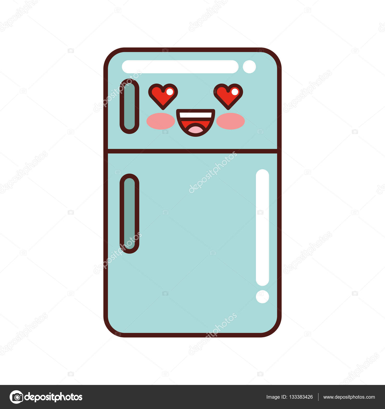 Fridge Appliance Kawaii Style Isolated Icon Stock Vector