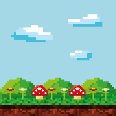 game scene pixelated background