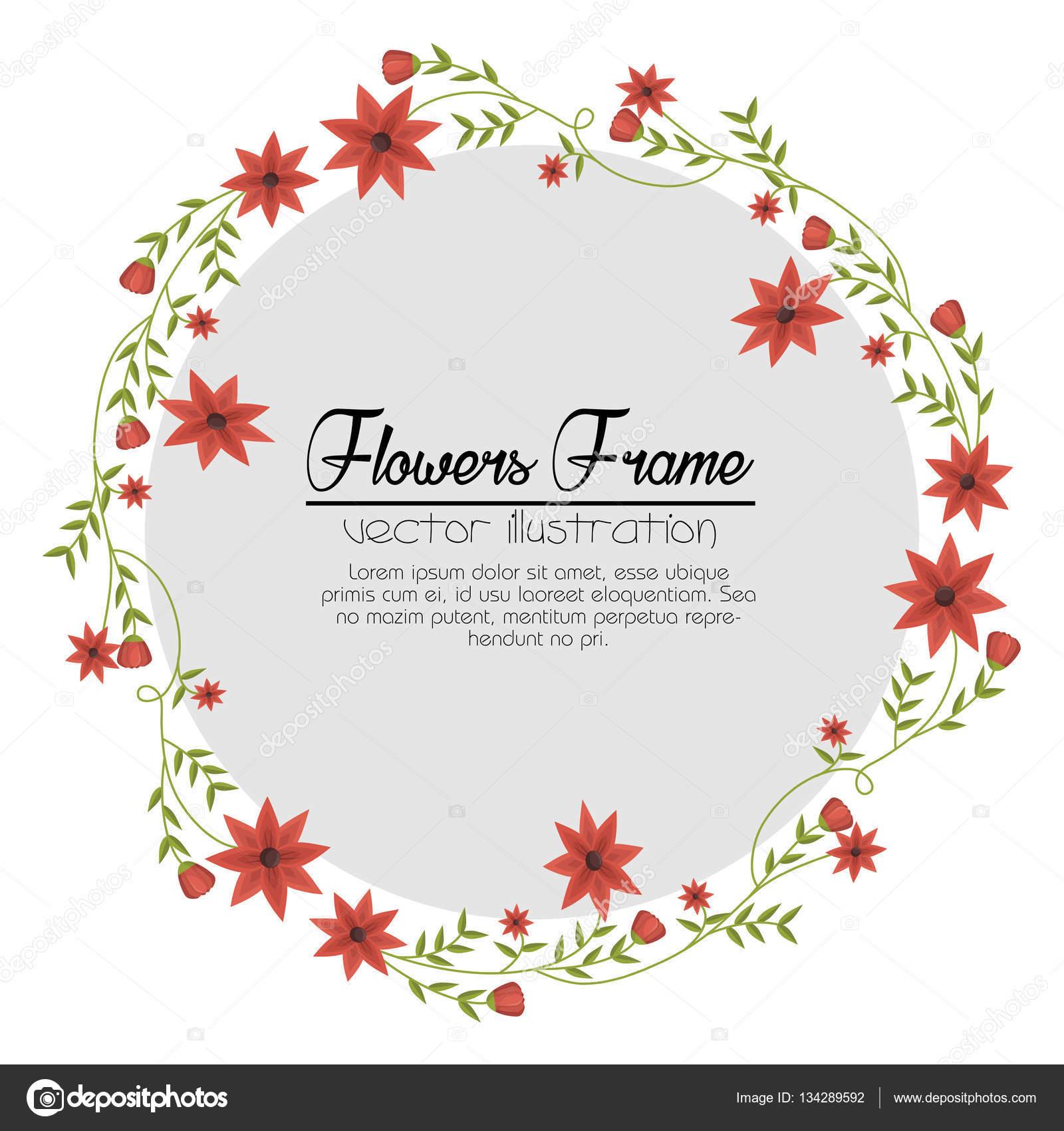 schönen Rahmen dekorative Blumen — Stockvektor © yupiramos #134289592