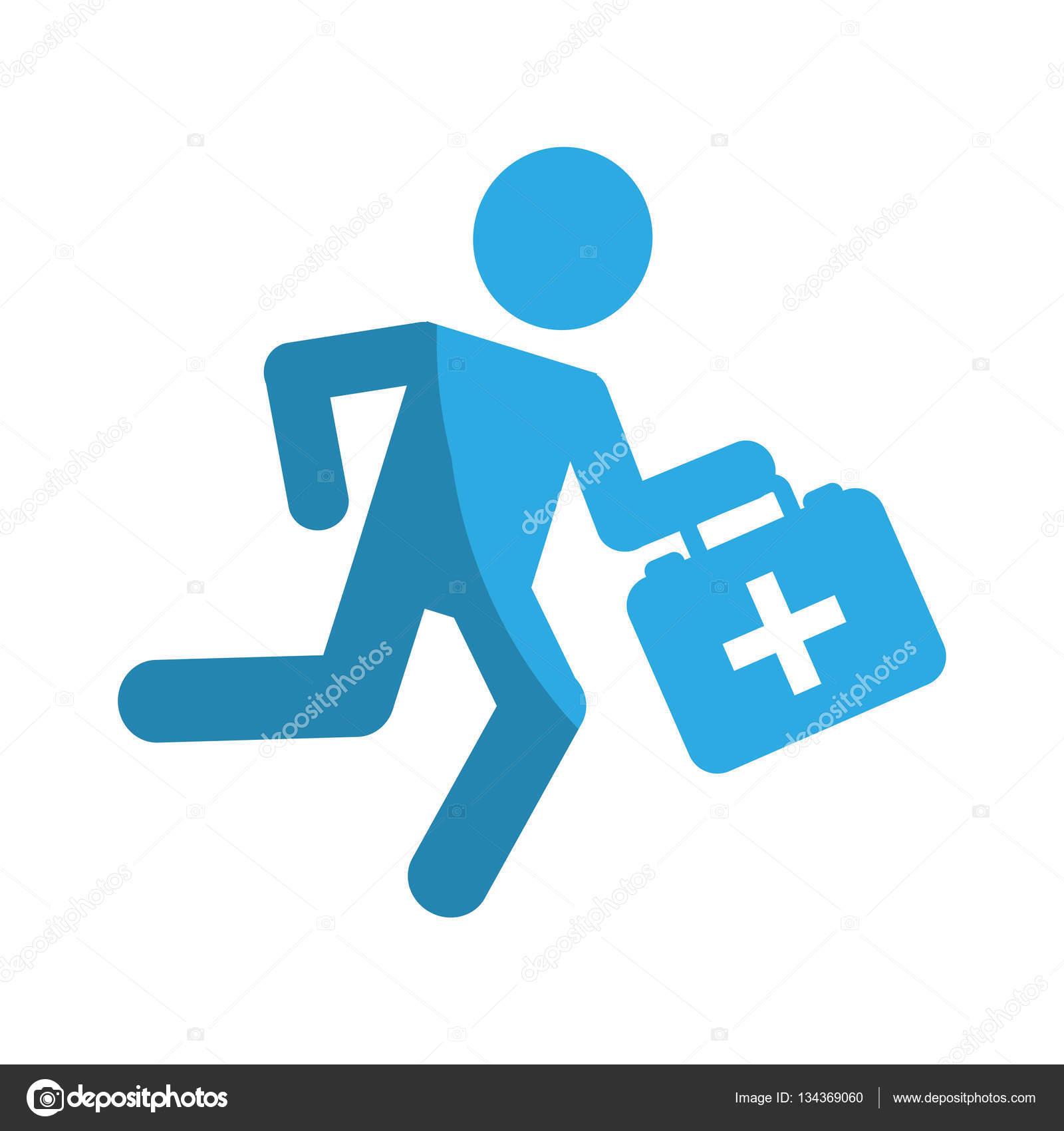 Vector: logo paramédico   paramédico con botiquín — Vector
