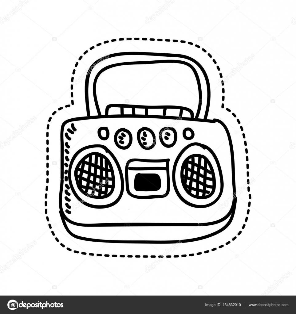 retro stijl radio tekening stockvector 169 yupiramos
