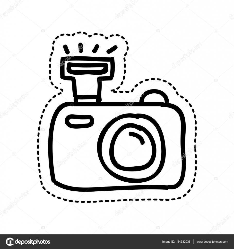Conhecido ícone de desenho câmera fotográfica — Vetor de Stock © yupiramos  EY16