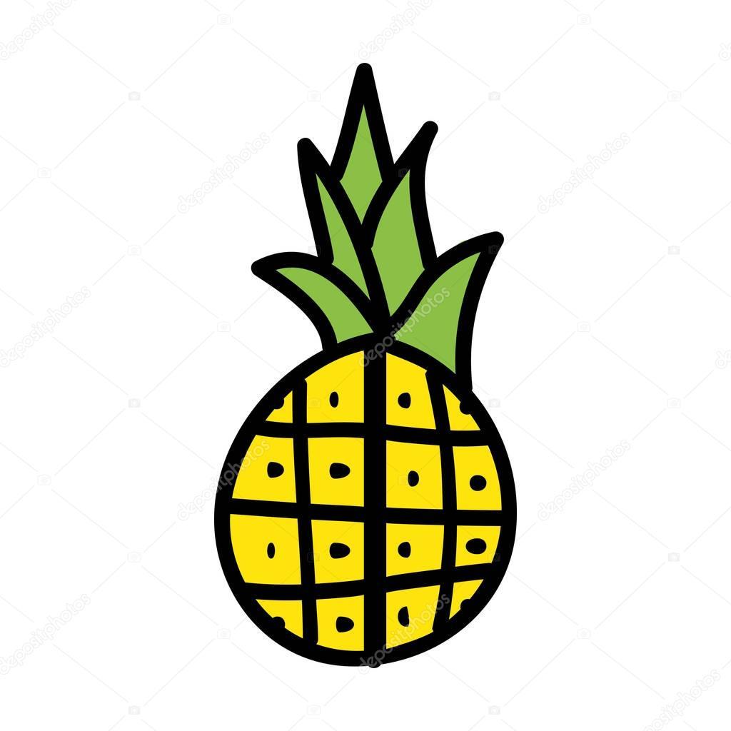 pineapple fresh fruit drawing icon
